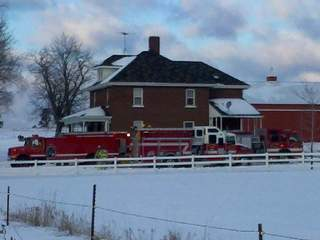 Barn fire in Shawano County.  Photo by Jerry Van Handel of WLUK.