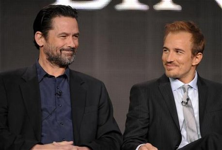 Cast members Billy Campbell, who plays Lincoln (L), and Jesse Johnson, who plays John Wilkes Booth, take part in a panel discussion of Natio
