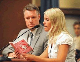 Erin Merryn and State Senator John Proos testify for bill.
