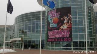 A banner for the 2013 WIAA state girls basketball tournament hangs on the exterior of the Resch Center in Ashwaubenon, Friday, Jan. 11, 2013. (courtesy of FOX 11).