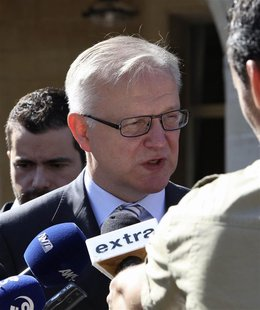 European Economic and Monetary Affairs Commssioner Olli Rehn speaks to journalists during the EU Informal Economic and Financial Affairs Cou