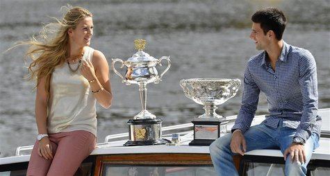 Victoria Azarenka of Belarus, the 2012 Australian Open women's singles champion, and Novak Djokovic of Serbia, the 2012 Australian Open men'