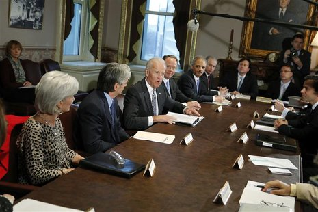 U.S. Vice President Joe Biden (3rd L) convenes a meeting with representatives from the video game industry, in a dialogue about gun violence