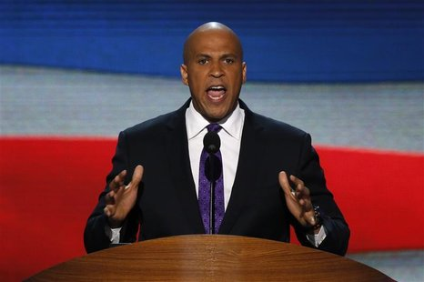 Newark, New Jersey Mayor Cory Booker addresses delegates during the first session of the Democratic National Convention in Charlotte, North