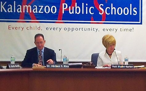 Superintendent Michael Rice and Board President Patti Sholler-Barber.
