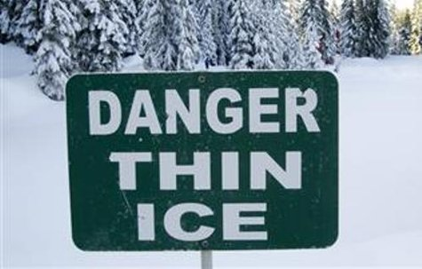 A thin ice warning sign.