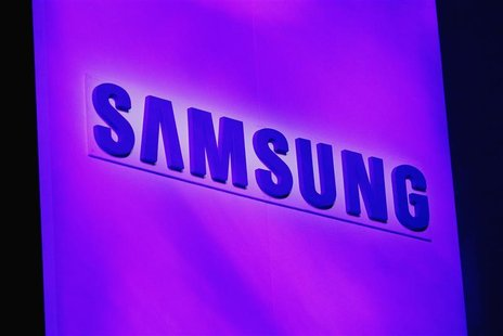 The company logo is displayed at the Samsung news conference at the Consumer Electronics Show (CES) in Las Vegas January 7, 2013. REUTERS/Ri