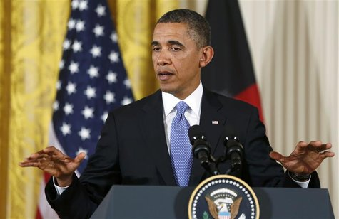 U.S.President Barack Obama addresses a joint news conference with Afghan President Hamid Karzai in the East Room of the White House in Washi