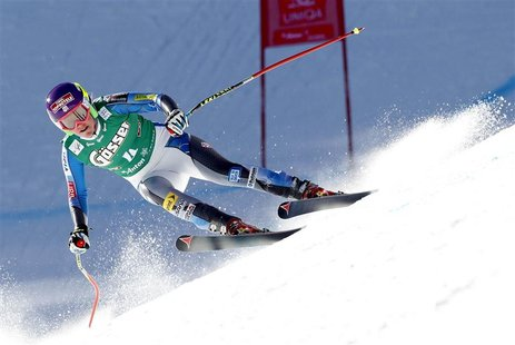 Alice McKennis from the U.S. speeds down the slope during the Alpine Skiing World Cup women's downhill ski race in St. Anton, January 12, 20