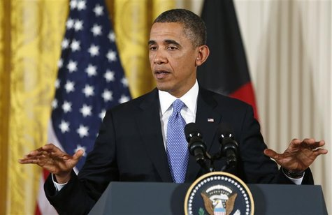 President Barack Obama addresses a joint news conference with Afghan President Hamid Karzai in the East Room of the White House in Washingto
