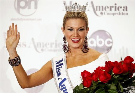 Miss America 2013 Mallory Hytes Hagan, 23, Miss New York, poses during a news conference after winning the Miss America Pageant in Las Vegas