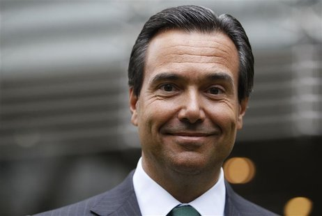Lloyds Banking Group CEO Antonio Horta-Osorio poses outside the bank's headquarters on his first day back at work after taking a leave of ab