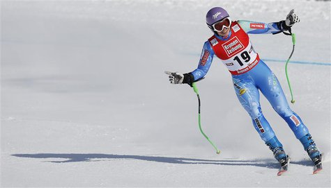 Tina Maze from Slovenia reacts after the Alpine Skiing World Cup Super G race in St. Anton January 13, 2013. REUTERS/Leonhard Foeger