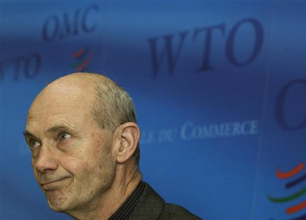 WTO Director-General Pascal Lamy looks on during a news conference at the World Trade Organization headquarters in Geneva April 7, 2011. REU