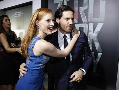 "Cast members Jessica Chastain and Edgar Ramirez greet each other at the premiere of ""Zero Dark Thirty""at the Dolby theatre in Hollywood, Cal"