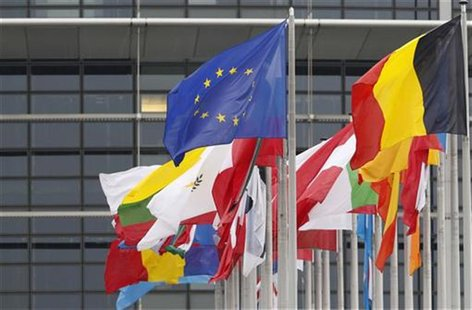 The European flag (top L) fly amongst EU member countries' national flags in front of the European Parliament, in Strasbourg October 12, 201