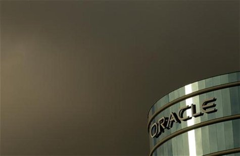 The company logo is shown at the headquarters of Oracle Corporation in Redwood City, California February 2, 2010. Picture taken February 2,