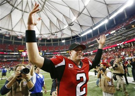 Atlanta Falcons quarterback Matt Ryan celebrates after the Falcons defeated the Seattle Seahawks in their NFL NFC Divisional playoff footbal