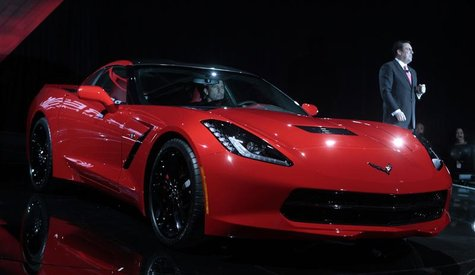 General Motors Corp. President of North America Mark Reuss introduces the Chevrolet 2014 Corvette vehicle during a press event in an old ind