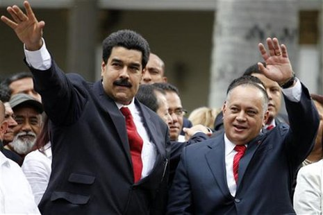 Venezuelan Vice President Nicolas Maduro (L) arrives with National Assembly President Diosdado Cabello during the assembly inauguration in C