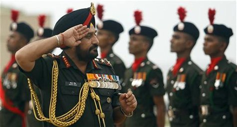 India's army chief General Bikram Singh inspects the military parade before his meeting with Sri Lanka's army commander Lieutenant General J