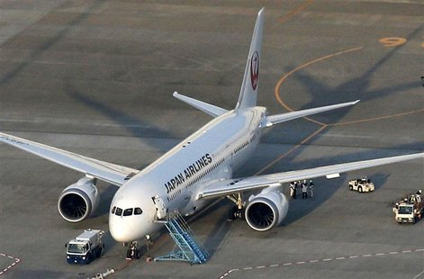 Japan Airlines' (JAL) Boeing 787 plane which leaked fuel during tests, is pictured at New Tokyo international airport in Narita, east of Tok