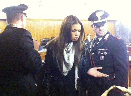 "Karima El Mahroug, better known by her stage name ""Ruby the heartstealer"", gestures at Milan's court January 14, 2013. The young nightclub d"