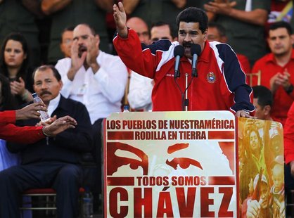 Venezuelan Vice President Nicolas Maduro speaks during a rally in support of President Hugo Chavez in Caracas January 10, 2013. REUTERS/Carl