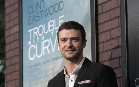 "Cast member Justin Timberlake poses at the premiere of ""Trouble with the Curve"" at the Village Theatre in Los Angeles, California September"