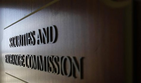A sign for the Securities and Exchange Commission (SEC) is pictured in the foyer of the Fort Worth Regional Office in Fort Worth, Texas June