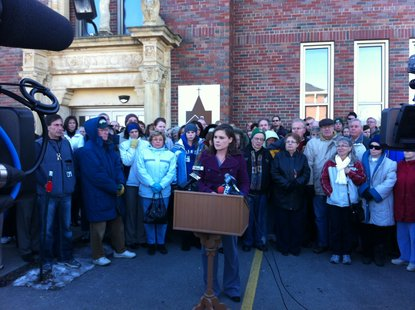 St. John's homeless shelter Executive Director Alexia Wood announces plan to request increase in conditional use permit from 64-beds to 84-beds.