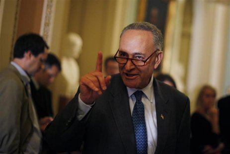 U.S. Senator Chuck Schumer (D-NY) is pictured outside the Senate Chamber during a break in debt reduction talks on Capitol Hill in Washingto