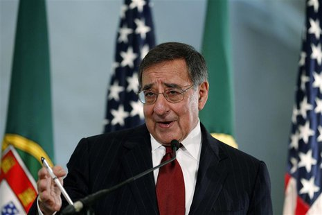 Defense Secretary Leon Panetta answers questions from journalists during a news conference at Sao Juliao fortress, on the outskirts of Lisbo