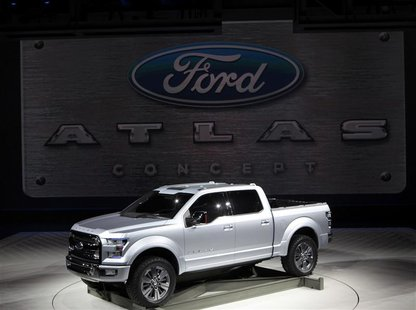 The Ford Atlas concept truck is displayed at the North American International Auto Show in Detroit, Michigan January 15, 2013. REUTERS/Rebec