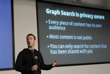 "Facebook Chief Executive Mark Zuckerberg introduces a new feature called ""Graph Search"" during a media event at the company's headquarters i"