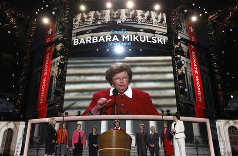 U.S. Senator Barbara Mikulski (D-MD) stands at the podium flanked by eight other Democratic female members of the U.S. Senate during the sec