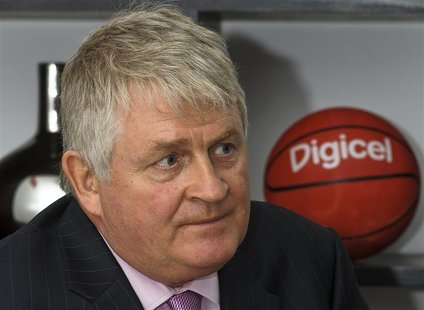 Digicel Chairman Denis O'Brien attends an interview with Reuters at the company's headquarters in Port-au-Prince, in this picture taken Dece