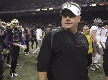 Oregon Ducks head coach Chip Kelly is seen after his team defeated the Washington Huskies 34-17 in their NCAA football game in Seattle, Wash