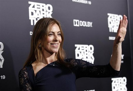 "Director and producer of the movie Kathryn Bigelow waves at the premiere of ""Zero Dark Thirty""at the Dolby theatre in Hollywood, California"