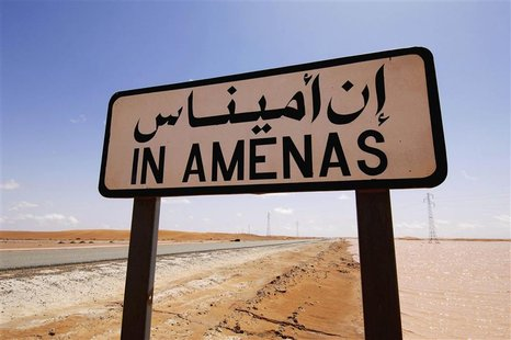A road sign indicating In Amenas, about 100 km (60 miles) from the Algerian and Libyan border, is seen in this undated picture provided by N