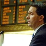 Scott Walker delivers the 2013 State of the State address in Madison (Photo: Wisconsin Radio Network)