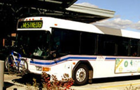 Westnedge bus arrives at the Intermodal Transportation Station downtown.