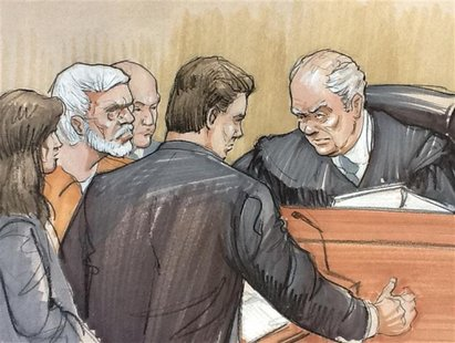 A courtroom artist's sketch shows (L to R) Tahawwur Rana in a white beard, looking on with his lawyer Patrick Blegen, prosecutor Daniel Coll