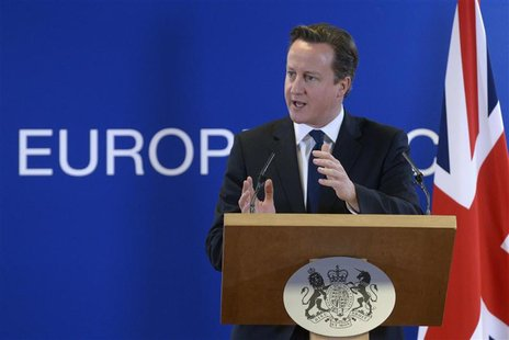 Britain's Prime Minister David Cameron holds a news conference during a European Union leaders summit, in Brussels December 14, 2012. REUTER