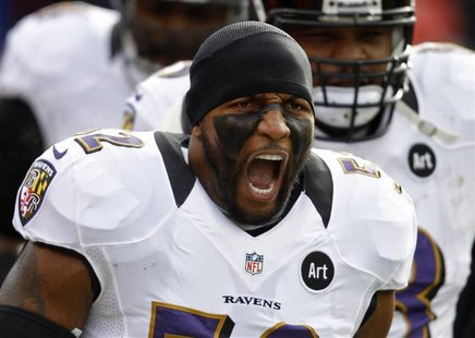 Baltimore Ravens inside linebacker Ray Lewis yells during a break in play against the Denver Broncos during the first quarter in their NFL A