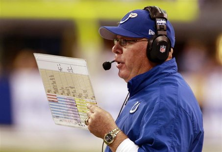 Indianapolis Colts interim head coach Bruce Arians reads from his play sheet as he talks into his headset against the Miami Dolphins during