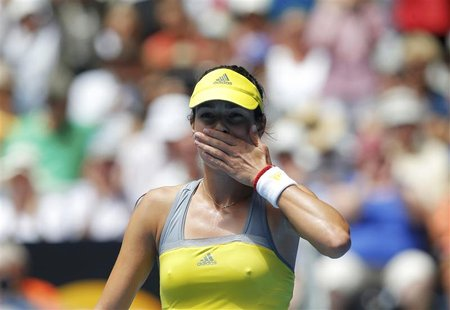 Ana Ivanovic of Serbia blows kisses to the crowd after defeating compatriot Jelena Jankovic in their women's singles match at the Australian