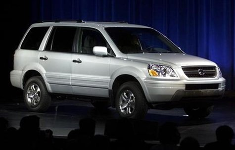 "A ""production ready"" version of the Honda Pilot is shown at its debut at the New York International Auto Show on March 27, 2002."
