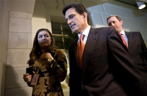"House Majority Leader Representive Eric Cantor (R-VA) is pictured after a meeting with House Republicans about a ""fiscal cliff"" deal on Capi"