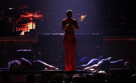 Singer Alicia Keys performs onstage in a tribute to honree Halle Berry (not pictured) at the BET Honors in Washington January 12, 2013. REUT